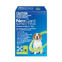 NexGard SPECTRA for Dogs 7.6 - 15kg Green Single Treatment