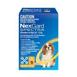 NexGard SPECTRA for Dogs 3.6 - 7.5kg Yellow Single Treatment