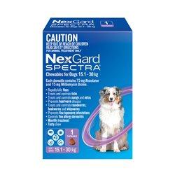NexGard SPECTRA for Dogs 15.1 - 30kg Purple Single Treatment