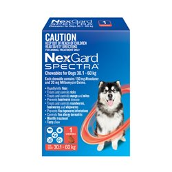NexGard SPECTRA for Dogs 30.1 - 60kg Red Single Treatment