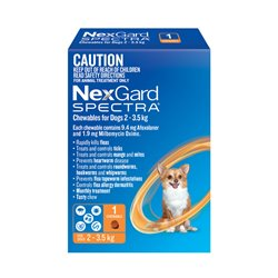 NexGard SPECTRA for Dogs 2 - 3.5kg Orange Single Treatment