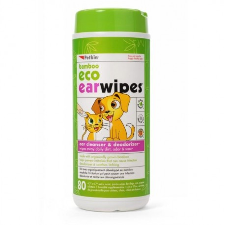 Petkin Bamboo Eco Pet Ear Wipes 80 Pack