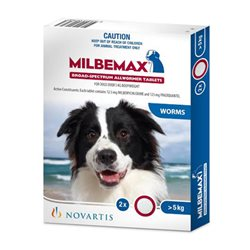 Milbemax Dog All Wormer 5KG-25KG 2Tabs