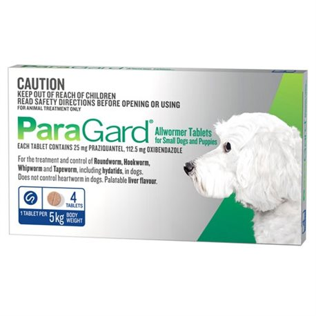Paragard All Wormer Small Dog 0-5 Kg 4 Tabs
