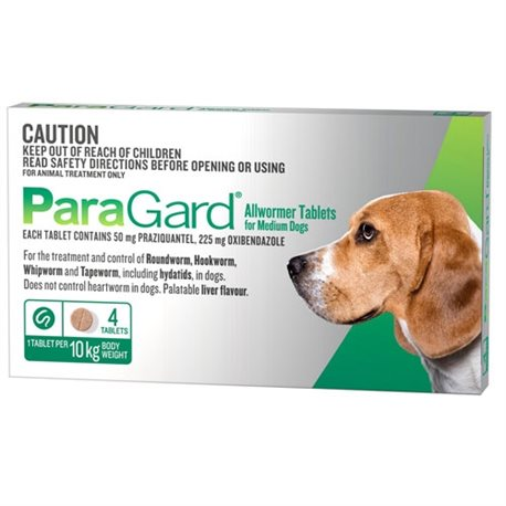 Paragard All Wormer 5-10kg Medium Dog 4 Tabs