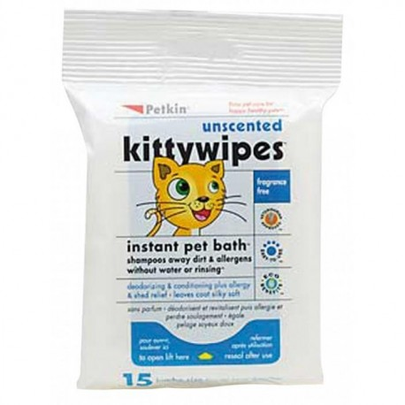 Petkin Unscented Kitty Wipes (15pk)