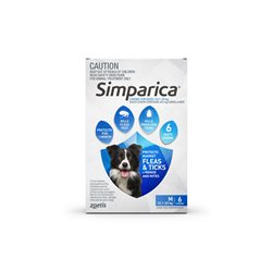 Simparica Medium Dog 10.1-20kg Blue (6 Chews)