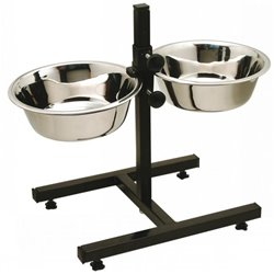 Adjustable Double Diner Twin Dog Food & Water Bowls 1.8L
