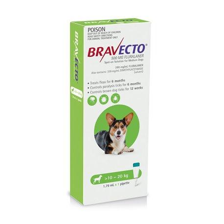 Bravecto For Dogs Spot On 10-20kg Green Single Pack