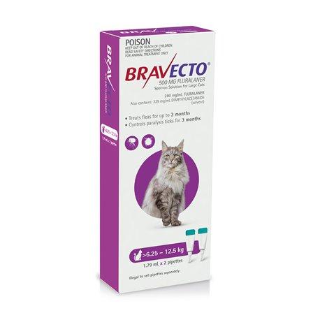 Bravecto For Cats Purple 6.25-12.5kg Flea & Tick Treatment 2 Pippet Pack
