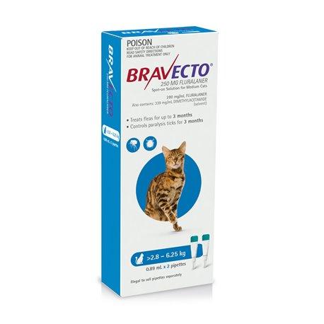 Bravecto For Cats Blue 2.8-6.25kg Flea & Tick Treatment 2 Pippet Pack