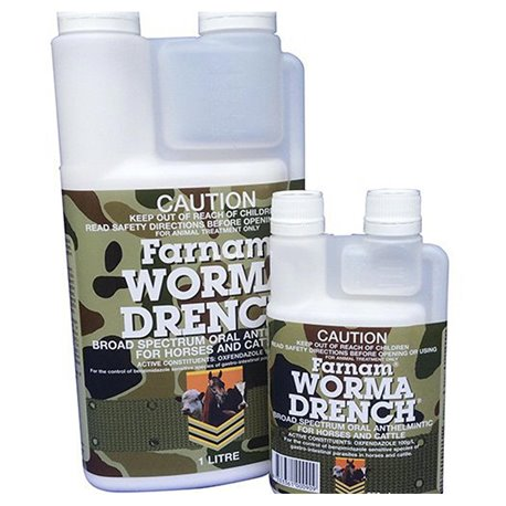 IAH Worma Drench Pour In Feed Worming Horse Equine Cattle Wormer