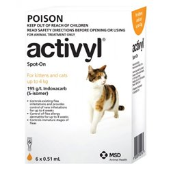 Activyl Cat Flea Treatment Up To 4kg Orange 6 Pack