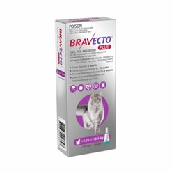 Bravecto Plus For Cats Purple 6.25 - 12.5kg Flea, Tick and Worm Treatment 1 Pipette Pack