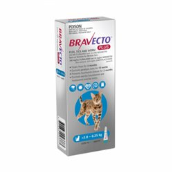 Bravecto Plus For Cats Blue 2.8 - 6.25kg Flea, Tick and Worm Treatment 1 Pipette Pack