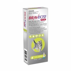 Bravecto Plus For Cats Green 1.2 - 2.8kg Flea, Tick and Worm Treatment 1 Pipette Pack