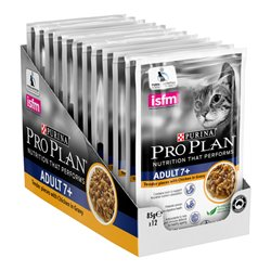 Pro Plan Adult 7 Plus Chicken Gravy Wet Cat Food Pouches 85g x 12