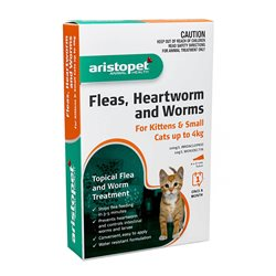 Aristopet Spot-On Flea, Heartwomr & Worm Treatment for Kittens & Small Cats up to 4kg