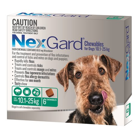 NexGard for Medium Dogs 10.1-25kg Green