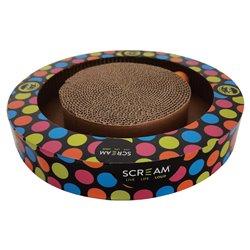 Scream Round Play Cat Scratcher (34x5.2cm) Loud Multicolour