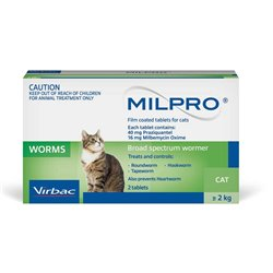 Virbac Milpro Broad Spectrum Allwormer for Cats 2-8kg (2 tabs)